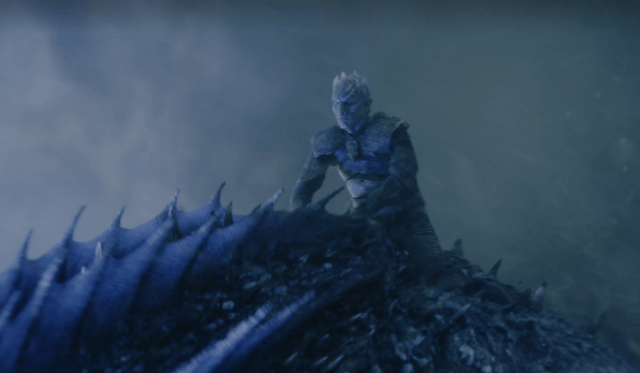 The Night king rides his dragon into battle.