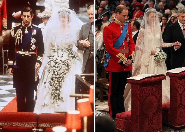 A side by side comparison of Princess Diana and Prince Charles' wedding and Prince William and Princess Kate's wedding