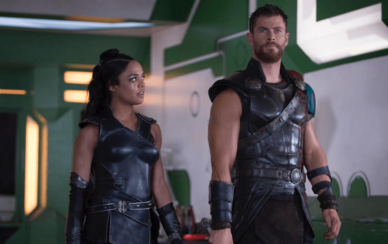 Valykrie and Thor stand next to each other