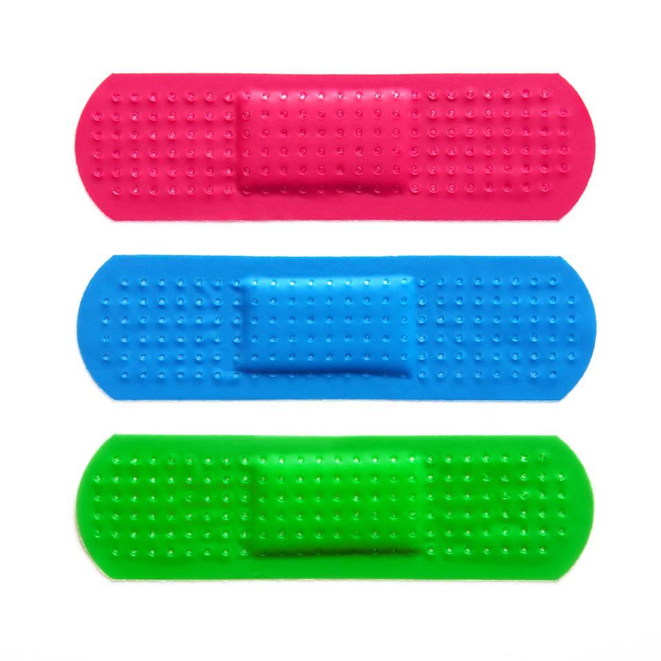 Three colorful bandages