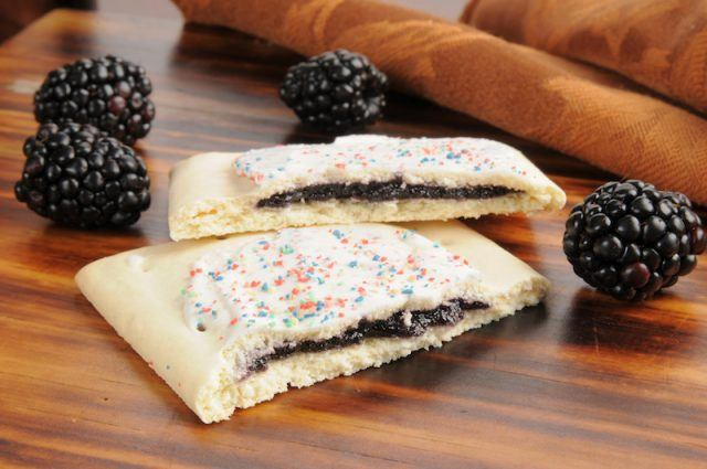 A blackberry Pop-Tart cut in half.