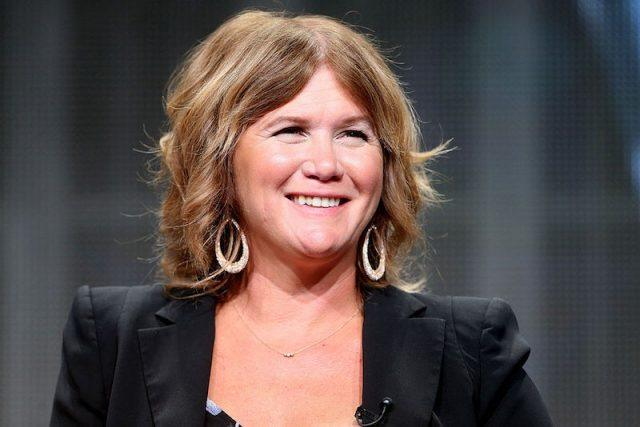 Tracey Gold smiles while sitting on a panel for 'Heartbreakers' during the 2014 TCA Awards.