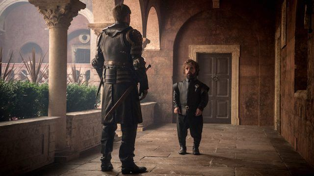 Tyrion Lannister talks to Jaime Lannister in a hallway