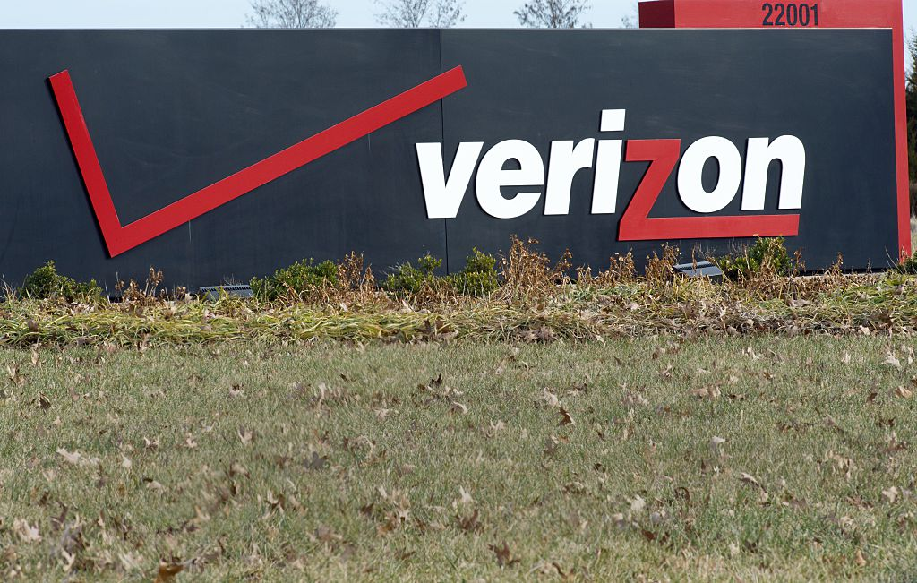 Verizon logo seen at headquarters