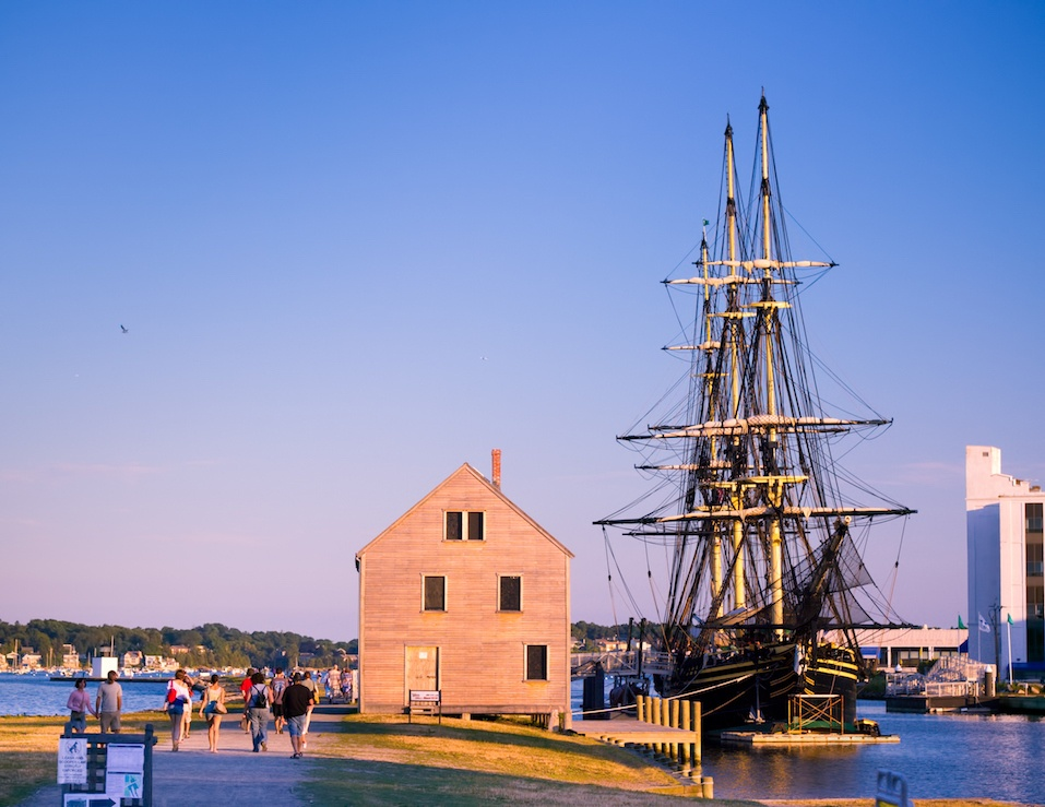 Visitors along the waterfront at Salem Maritime National Historic Site in Salem