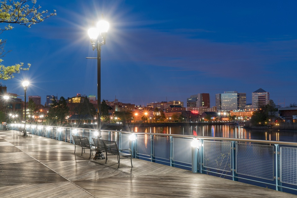 Wilmington Delaware skyline along the Riverfront at night
