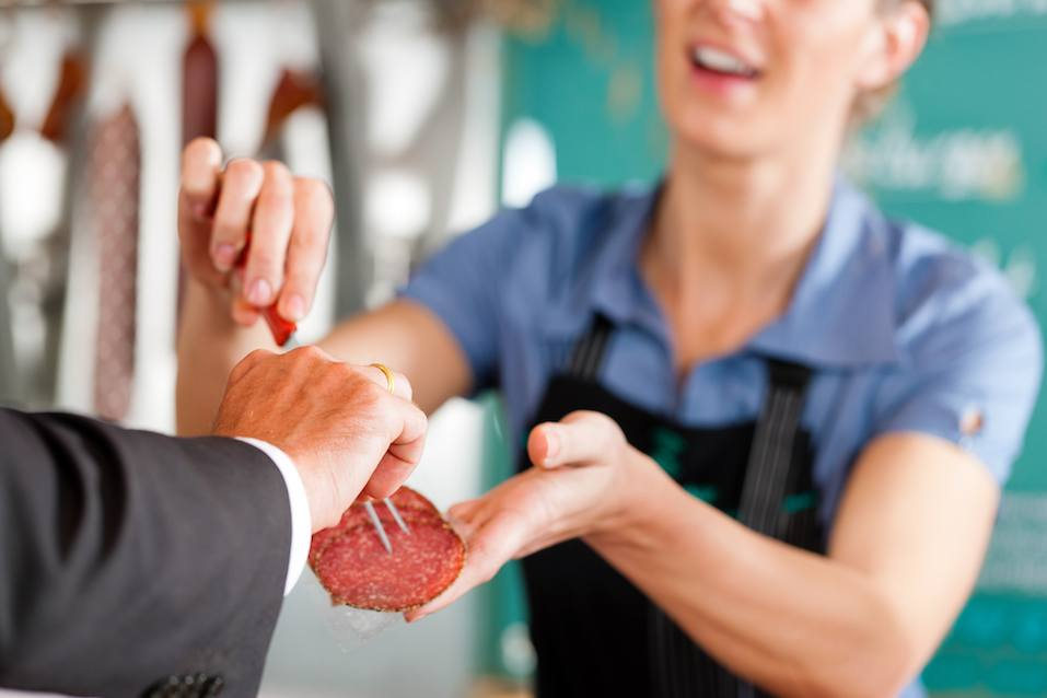 Working in a butcher's shop