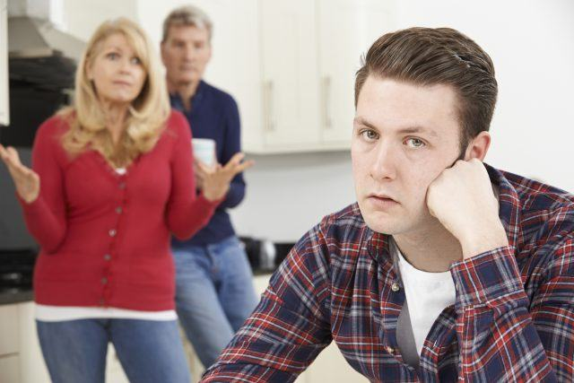 An adult is easily angered at their parents.