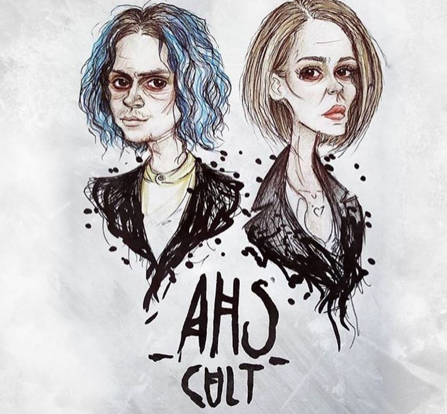 A drawing of Evan Peters and Sarah Paulson as their American Horror Story: Cult characters