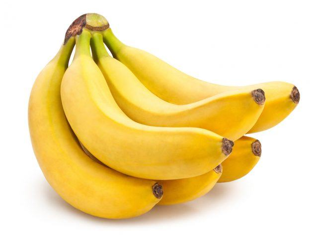 A banana bunch on a white background.