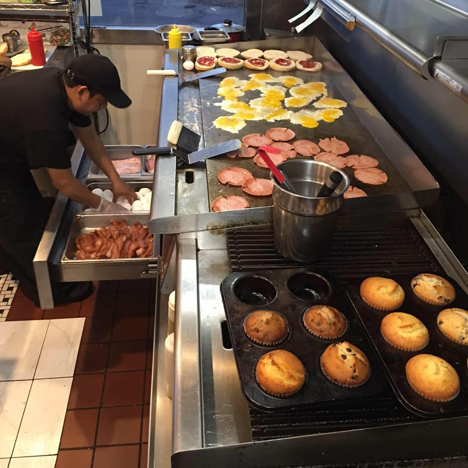 Food on the griddle at Bayway Diner
