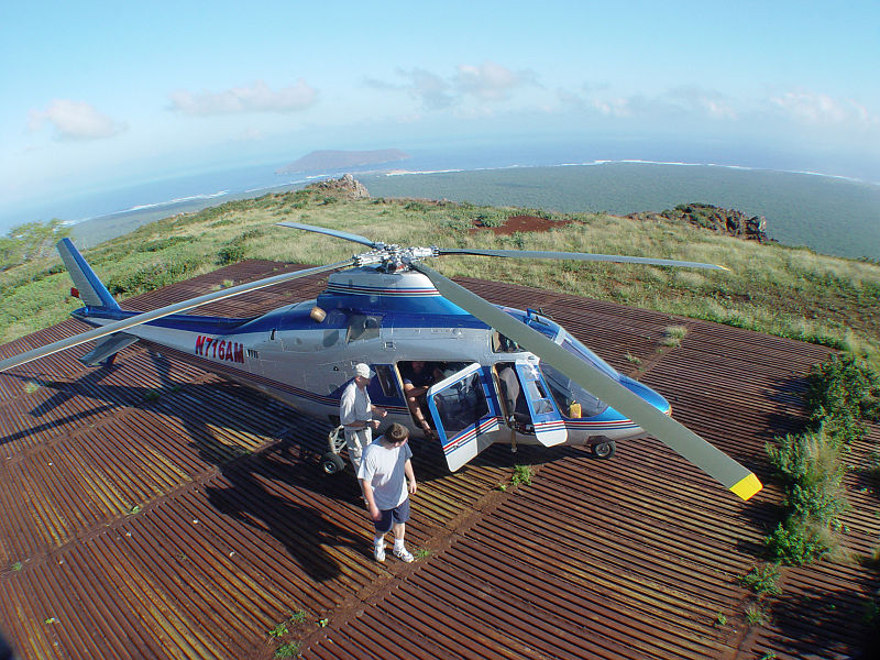 Helicopter departing from the island of Niihau
