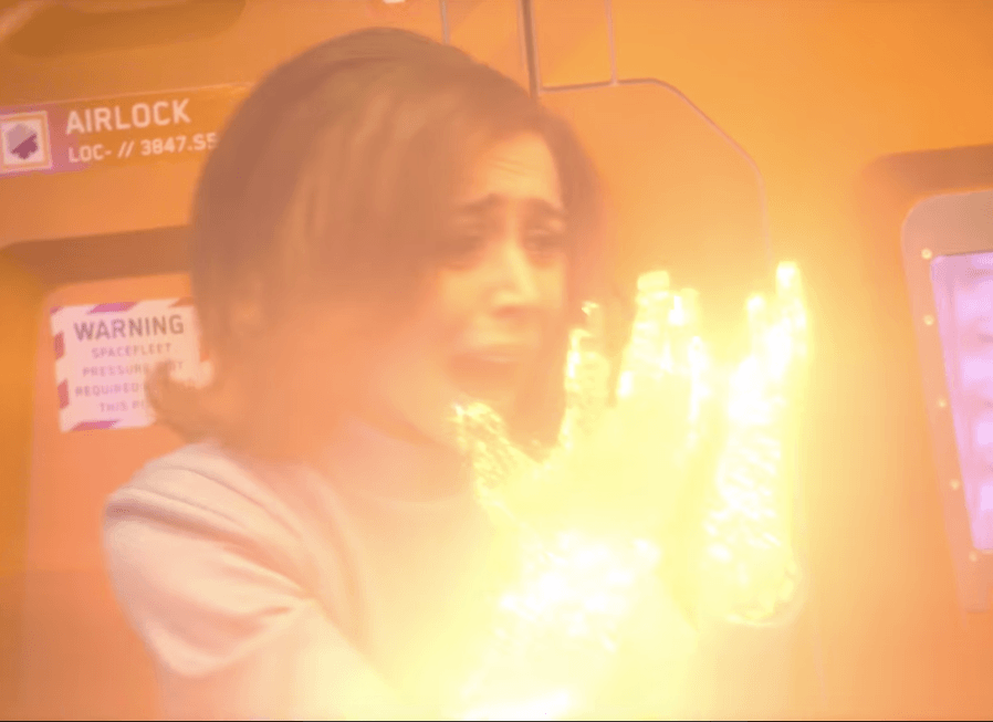 Cristin Milioti holds up glowing hands in Black Mirror Season 4