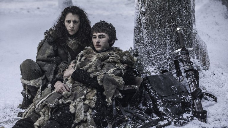 Bran Stark and Meera sit next to a tree in a snowy field in Game of Thrones