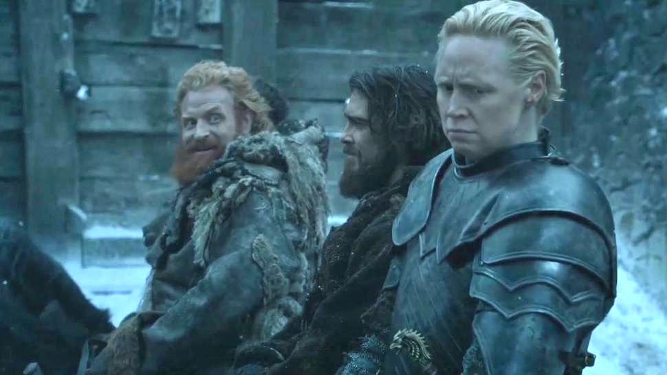 Tormund rides on a horse next to two other men in Game of Thrones