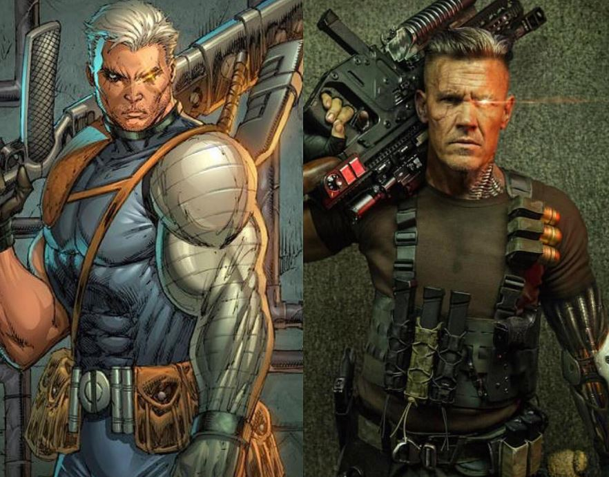 A side-by-side comparison of Marvel's Cable in the comics and Josh Brolin's Cable in Deadpool 2