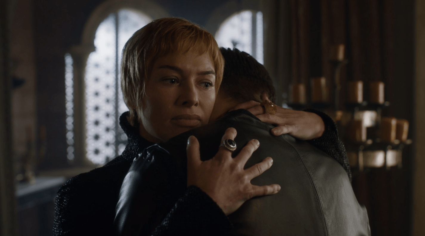 Cersei Lannister hugs Jaime Lannister on Game of Thrones