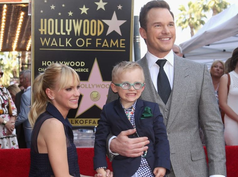 Anna Faris, Chris Pratt, and their son, Jack, at the Chris Pratt Walk Of Fame Star Ceremony on April 21, 2017 in Hollywood, California.