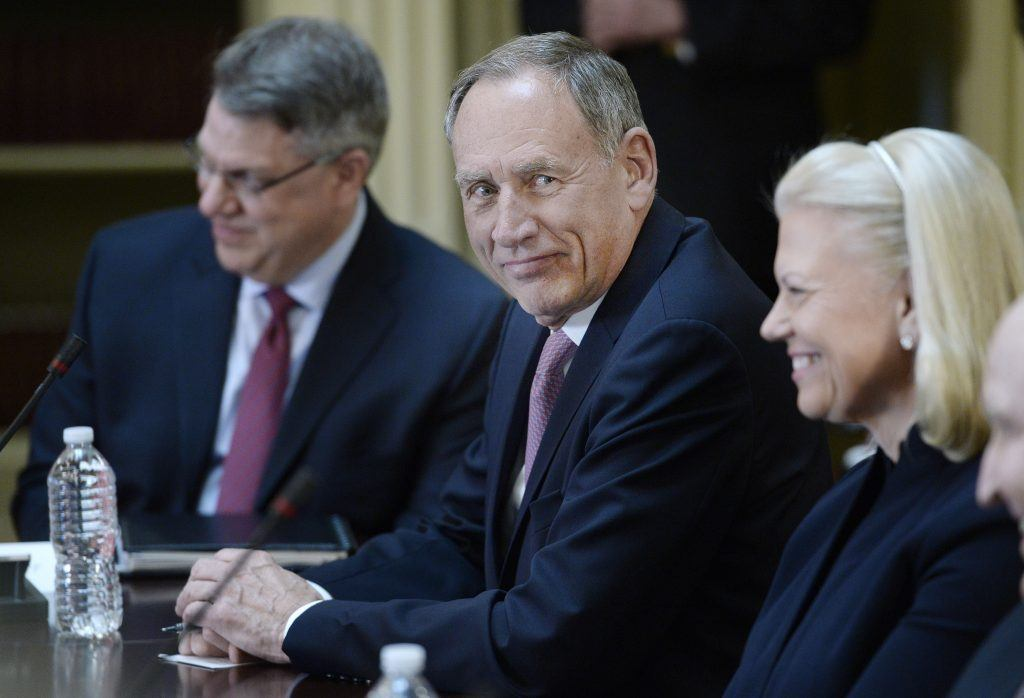 CEO Toby Cosgrove of Cleveland Clinic attends a meeting of Trump's CEO council.