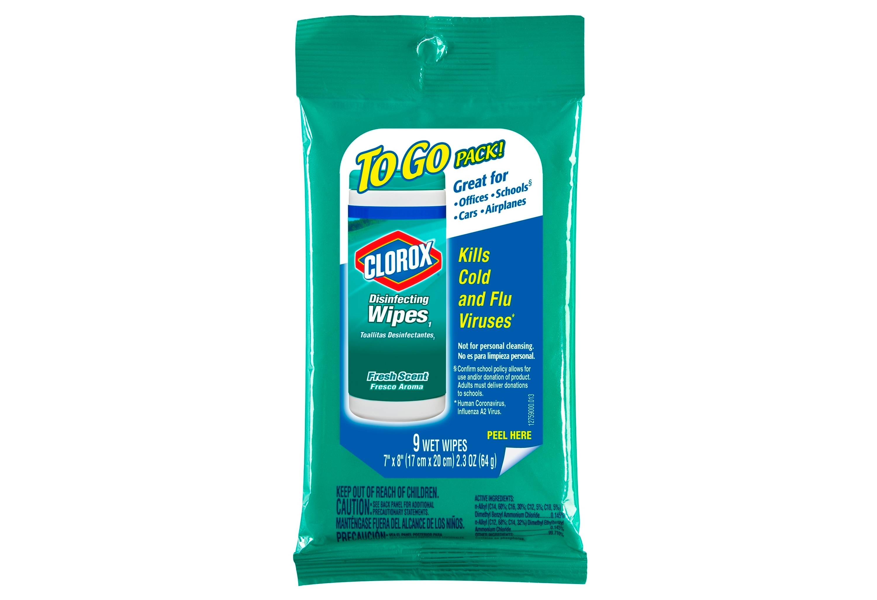 Travel disinfecting wipes