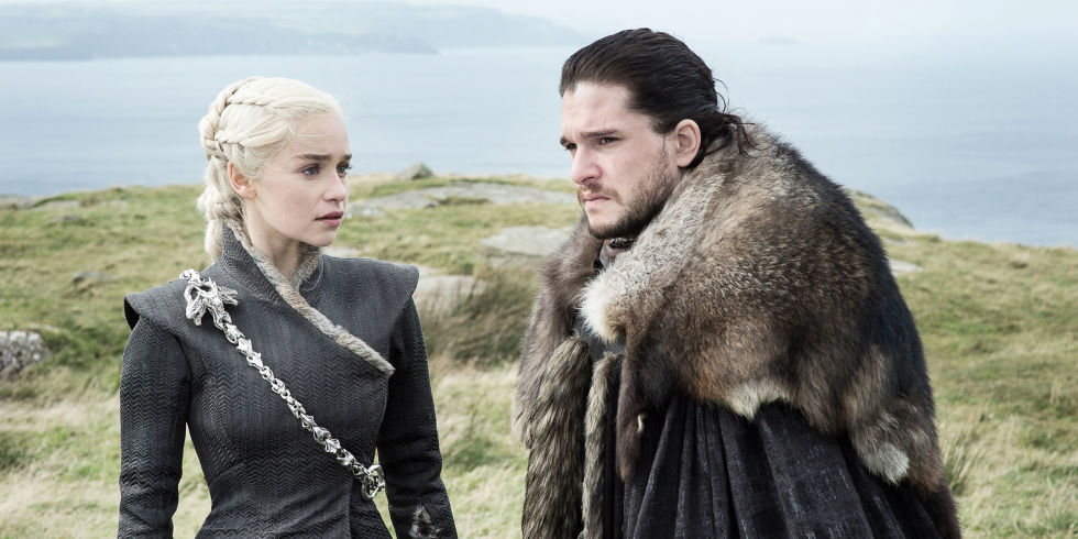 Daenerys and Jon Snow stand together in a field in Game of Thrones