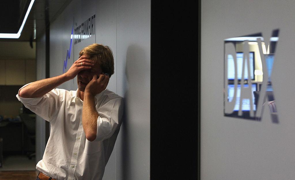 sad man on phone