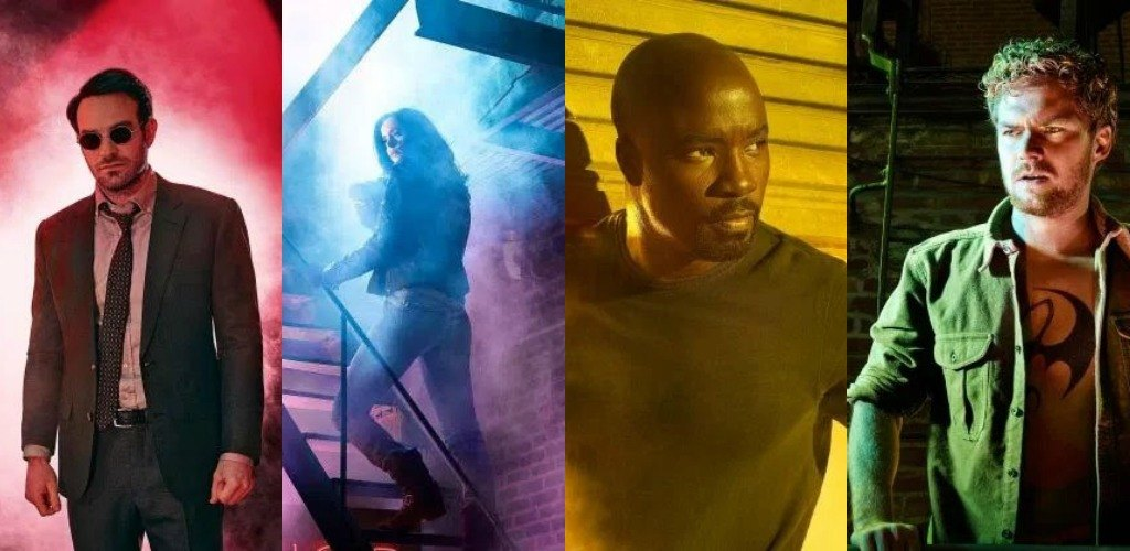 From left to right: Charlie Cox as Matt Murdock, Krysten Ritter as Jessica Jones, Mike Colter as Luke Cage, and Finn Jones as Danny Rand in The Defenders