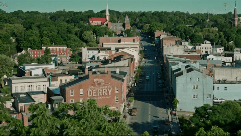 An overhead look of the town of Derry, Maine