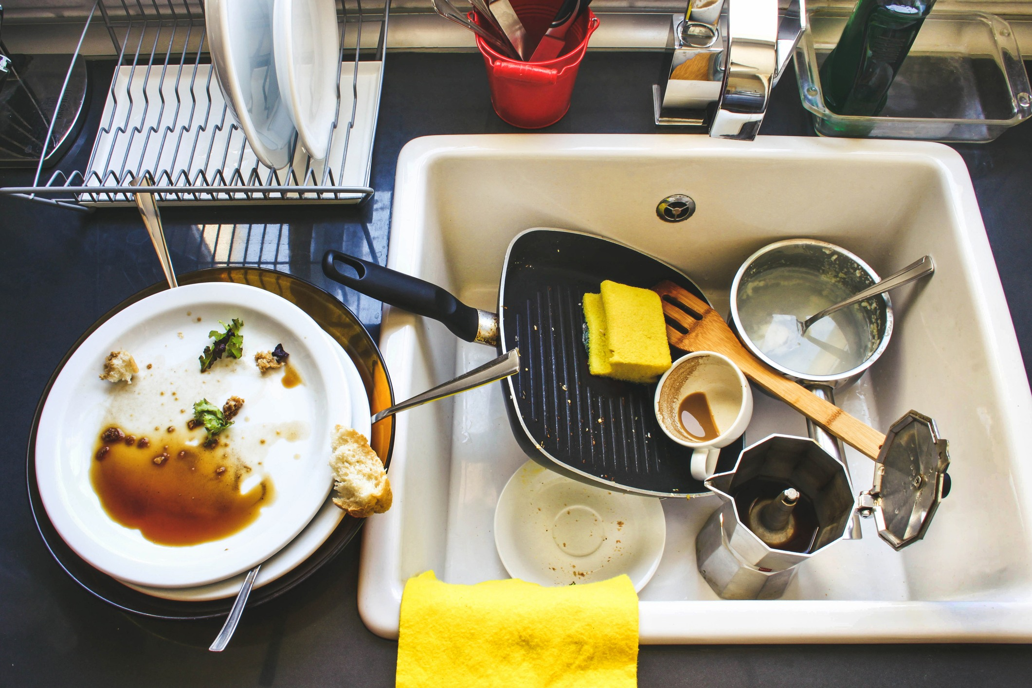 Dirty dishes in sink
