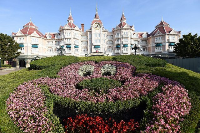 A Disneyland hotel seen on a clear day.