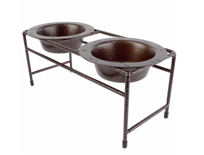 Copper dog bowl set