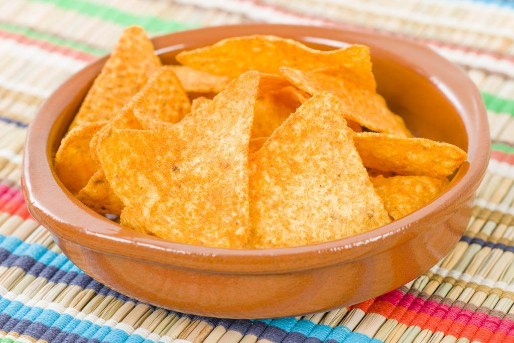 Doritos in a bowl with colorful background.