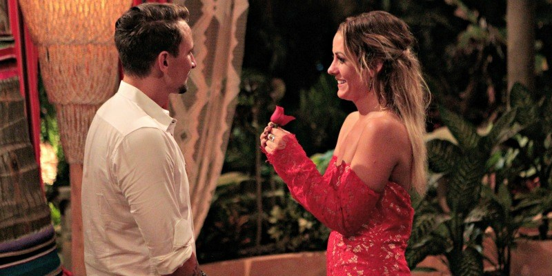 Carly gives Evan a rose on Bachelor in Paradise.
