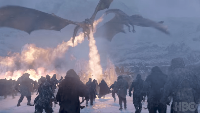 Daenerys dragons are flying and breathing fire on people in Game of Thrones