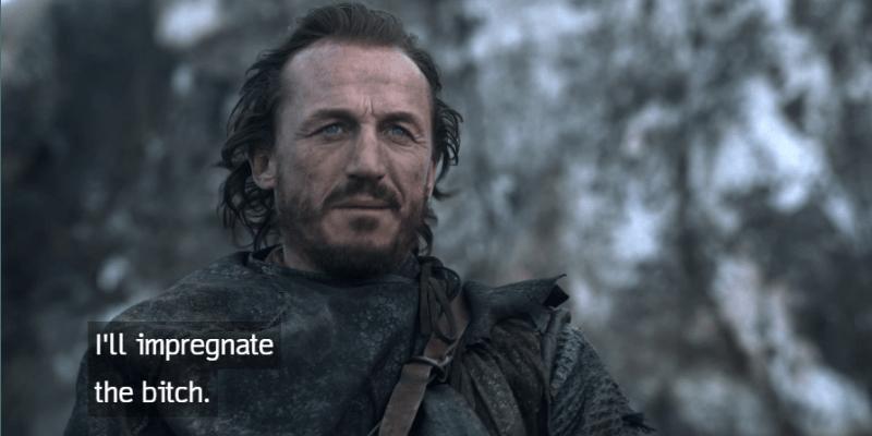 Bronn is talking on a horse.