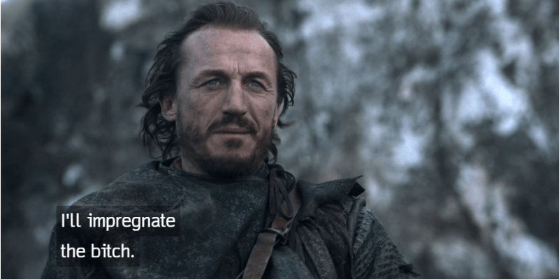 Bronn is talking on a horse.
