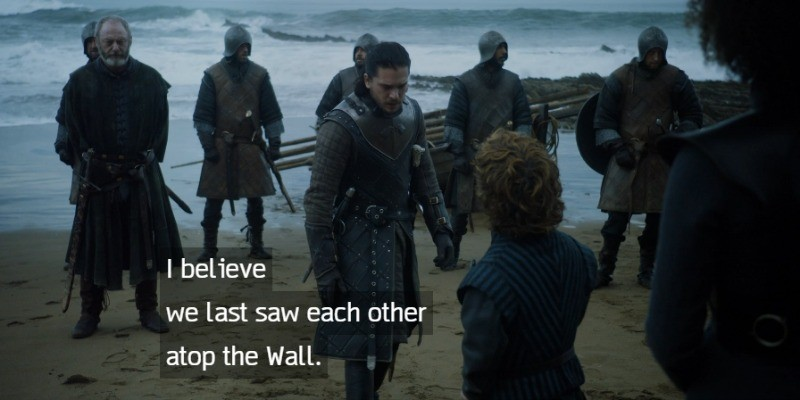 Jon Snow and his men are on the show of the ocean talking to Tyrion.