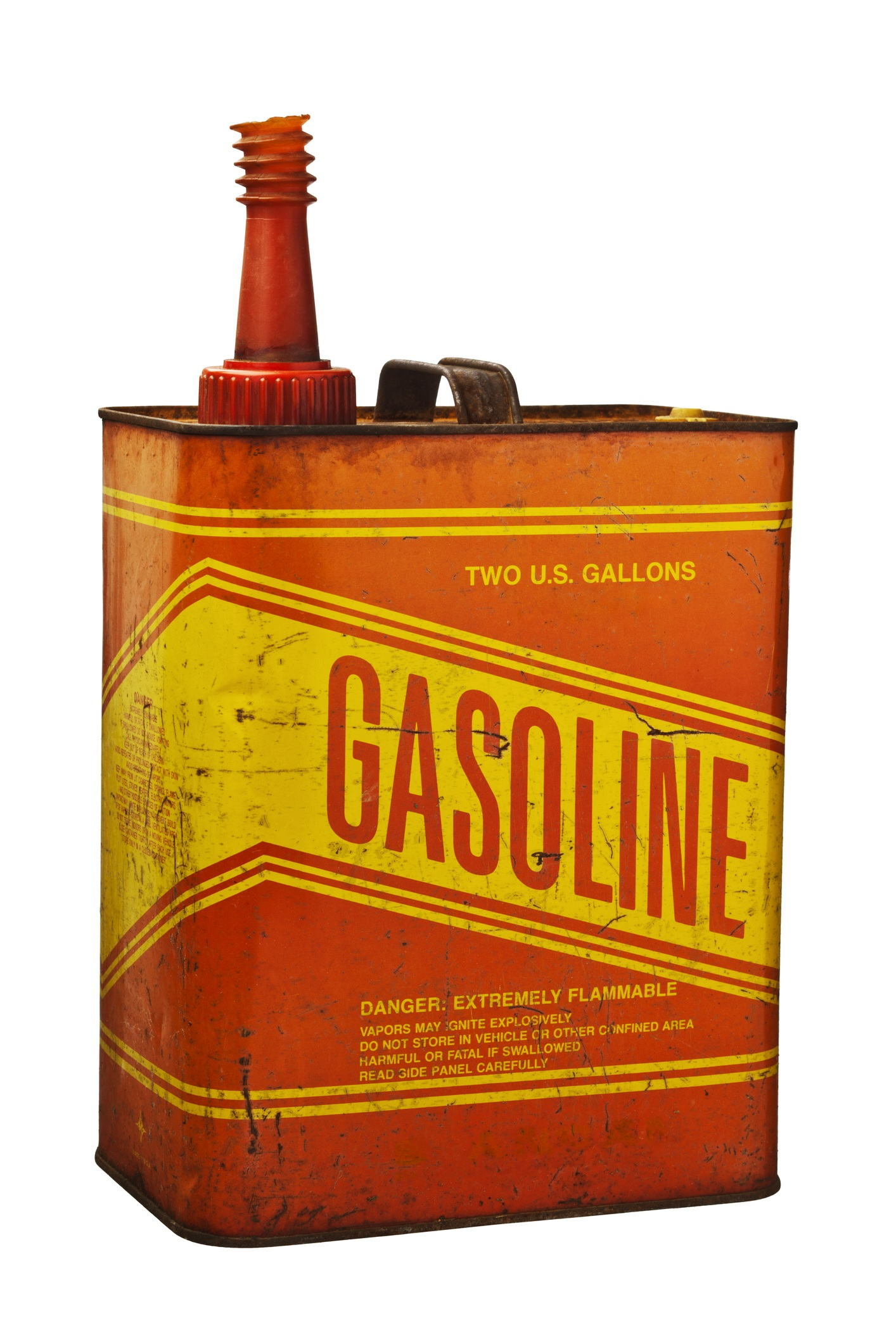 Red and yellow gasoline can