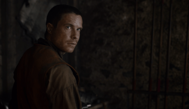 In the 'Game of Thrones' episode 'Eastwatch,' Gendry looks over his shoulder.