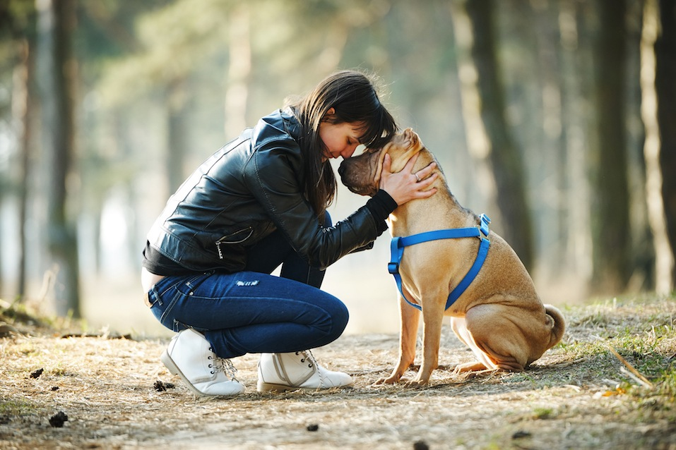 Young girl with dog in the park