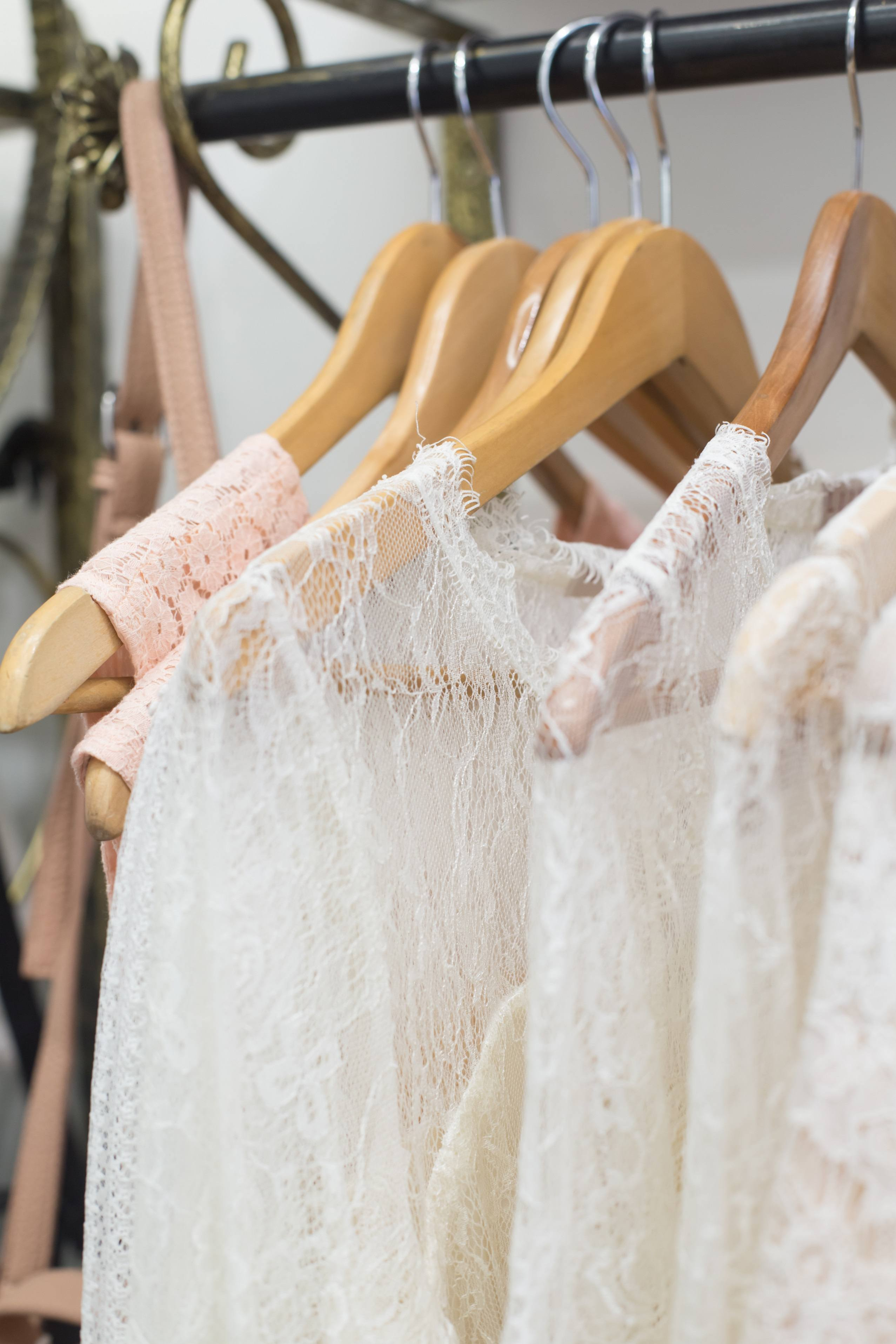 White lace blouses hanging