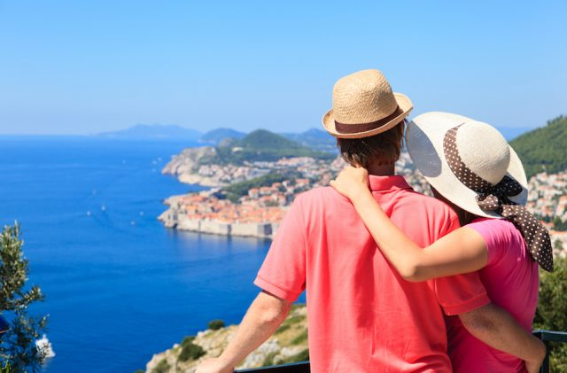 Happy couple on summer vacation in Dubrovnik.
