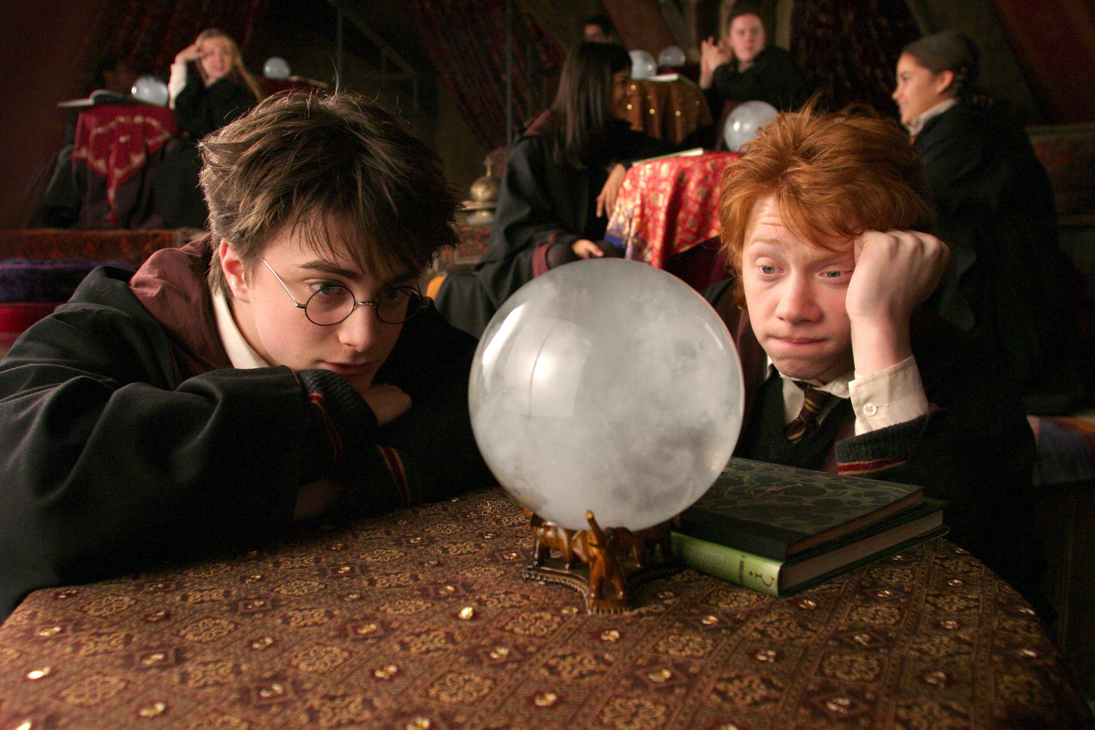 Harry Potter and Ron Weasley looking into crystal ball