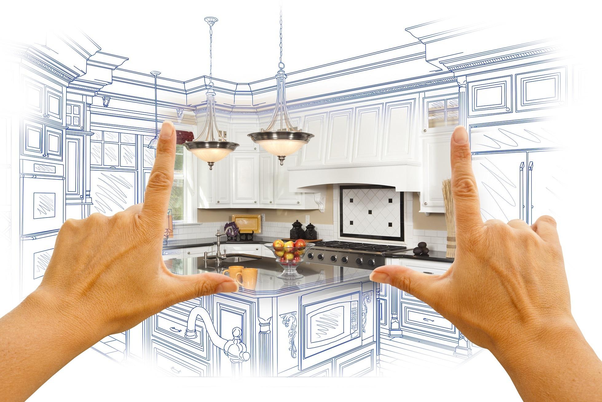Hands showing off kitchen design.