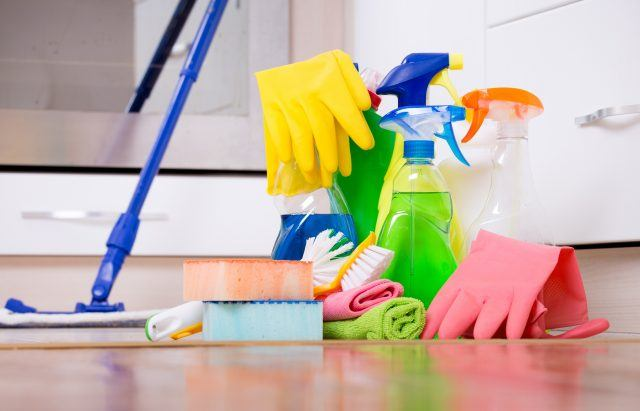 Assortment of cleaning supplies