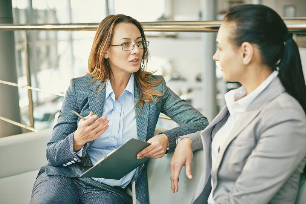 HR manager talking with employee