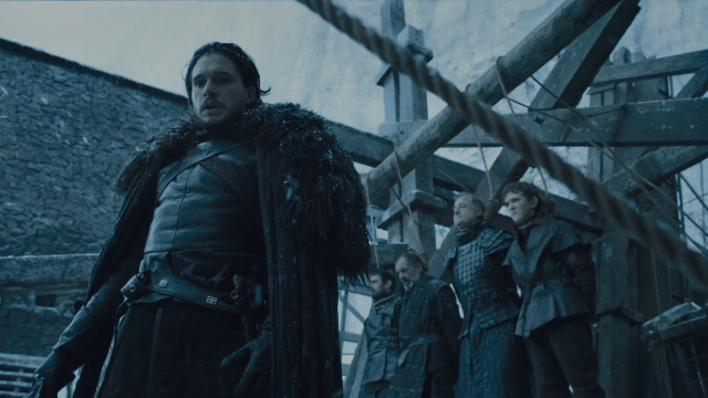 Jon Snow turns his back on the men who betrayed him as they stand at the gallows in a scene from 'Game of Thrones.'