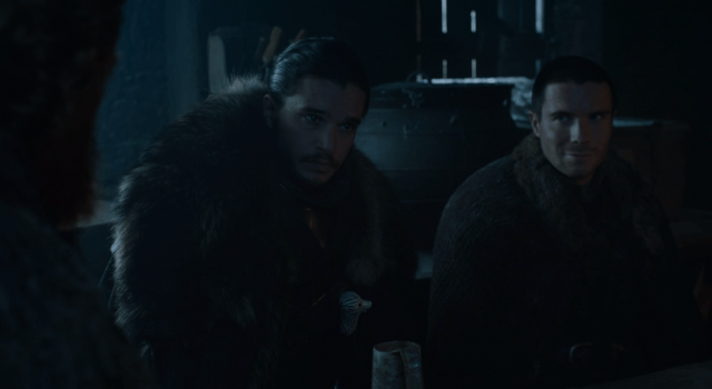In the 'Game of Thrones' episode 'Eastwatch,' Jon Snow and Gendry sit at a table.