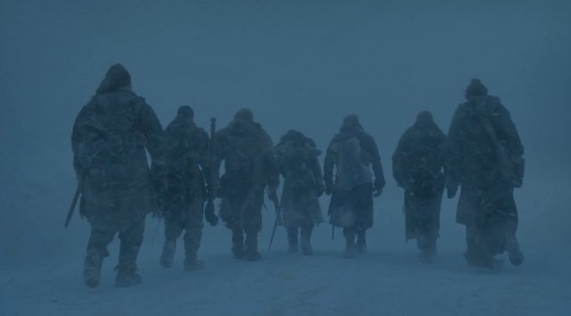 Jon Snow, Jorah Mormont, Gendry, Tormund, Ser Davos, and the Brotherhood set out into the snow in the Season 7 'Game of Thrones' episode 'Eastwatch.'