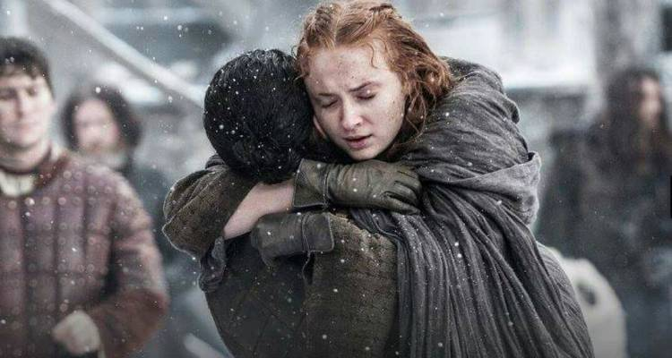 Jon Snow and Sansa Stark hug